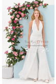 V-Neck halter jumpsuit A-line Pants Suit for wedding dresses bridal wps-054