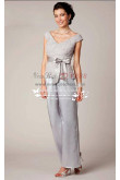 V-Neck Mother of the bride pant suit Gray satin with lace nmo-188