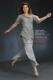 Venice Gray lace pants suit for Mother of the bridal dresses trousers set two pieces nmo-429