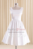 White A-line Satin Homecoming dresses Knee-Length bridesmaid dress