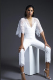 White Lace Bridal Jumpsuit With Batwing sleeve wps-168