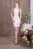 White Prom dresses Hand Beading Short Sheath Dress NP-0378