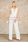 White Sleeveless bridal jumpsuit dresses Customize wps-041