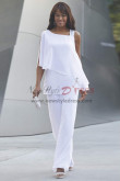 Withe Beach wedding Trouser set Mother Chiffon Pant suit for special occasion nmo-445