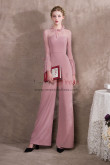 Womens Pink Chiffon Jumpsuits With lace Sleeves NP-0412