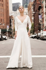 16e1108c6c9a Deep V-neck Bridal Jumpsuit Modern Wedding Culottes wps-140