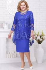 Knee-Length Mother of the bride dresses Royal Blue plus size women's outfits nmo-566