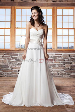 2014 Latest Fashion A line Sweetheart Chiffon Beach wedding dress Waist  With a flower nw- 6419dd0f2157