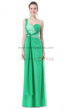 2014 New Arrival One Shoulder green Chiffon Sequins prom Dresses np-0200