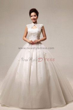 High Collar Ball Gown Appliques Wedding Dresses Elegant nw-0080