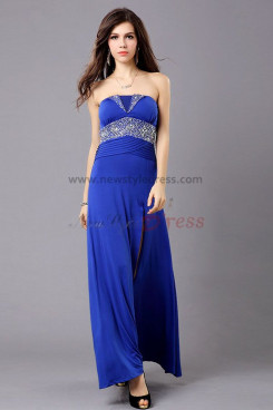 2019 New Style Split Front Strapless Crystal Beading prom dresses np-0276