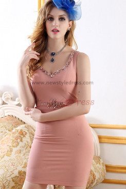 2019 New Style Package buttocks Sweetheart Pink Cocktail Dresses nm-0239