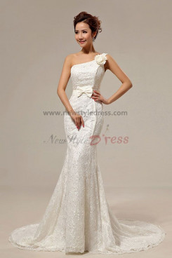 New Style Train Mermaid One Shoulder Chapel Lace Wedding Dresses nw-0064