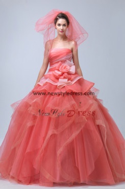 Watermelon Court Train Ruffles Quinceanera gowns Tiered flower nq-027