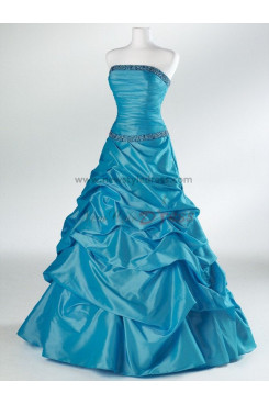 2014 hot sale Taffeta Strapless A-Line Gorgeous Navy blue or Rose Red Hand-beading Ruffles Evening dresses np-0080