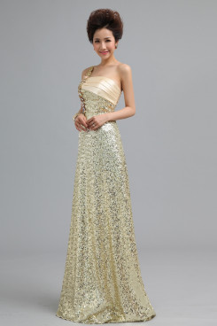 2019 New Arrival One Shoulder A-Line Sequins long Prom Dresses nm-0176