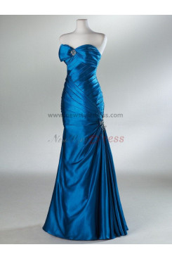 2014 new style  Chest with a bow  BlueredSilver Floor-Length Chest with pleats Taffeta Evening dresses np-0024