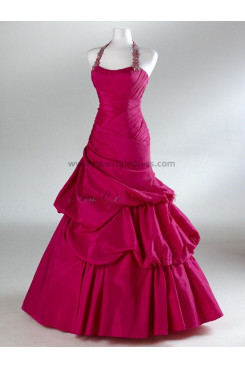 2014 new style Satin Halter Princess Glamorous Watermelon Red Ruched Floor-Length Evening dresses np-0090