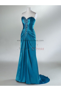 2014 new style Waist With Crystal Sweetheart Glamorous Blue and Silver Evening Dresses np-0091