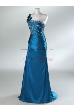 2014 New Style One Shoulder Sashes with Bow Chest With Crystal Navy Blue and Silver Prom Dresses np-0103