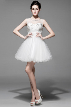 2019 New Style Short White Homecoming Dresses With Glass Drill nm-0166