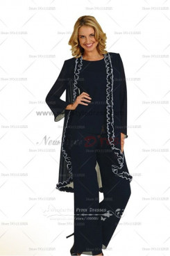 2019 Fashion Ruched Elegant black Mother Of The Bride Pants Suit nmo-008