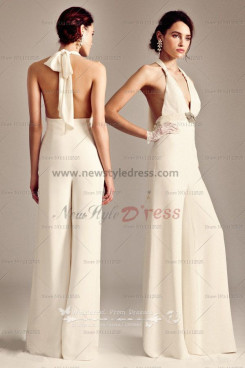 2019 Latest Fashion Halter Glamorous Ivory Sexy women's Jumpsuits wps-003