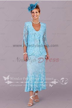 Latest Fashion Ocean blue Elegant lace Mother's suit dress cms-035