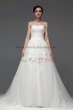 Red Lace Wedding Dresses Elegant Chapel Train nw-0115