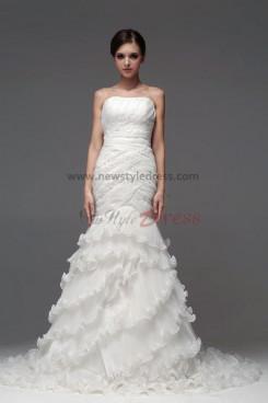 2015 New Style Mermaid Ruffles Tiered Wedding Dresses nw-0114