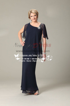 2019 Fashion Dark navy georgette mother of the bride dress cms-079