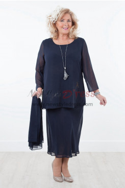 2019 NEW ARRIVAL Elegant Two piece Comfortable  Chiffon Mother of the Bride Dresses With shawl Dark Navy