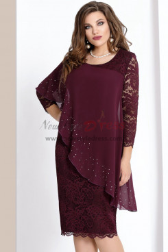 2019 Dressy Plus Size Burgundy Lace Mother Of The Bride Dresses with Crystal Free Shipping