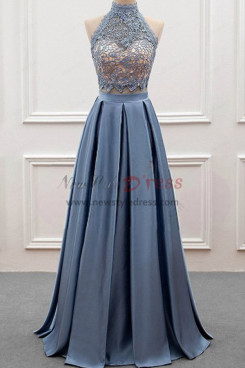2019 Fashion High Collar Pleat Silver grey Prom dress nmo-341