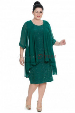 2019 Modern Plus Size Dark Green Sequins Lace Mother Of The Bride Dresses nmo-365