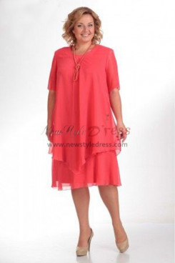 2019 Modern Plus Size Watermelon Mother Of The Bride Dresses Free Shipping