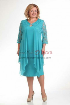 2019 Spring Modern Plus Size Jade Blue Mother Of The Bride Dresses nmo-596