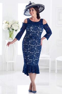 2020 Dark Navy Lace Mermaid Mother of the bride dress NMO-643