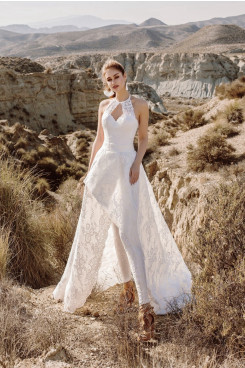 2020 Elegant Lace Wedding Jumpsuit Bride Dress wps-227