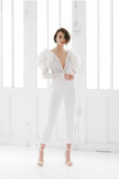 Deep V-Neck Long Sleeves Wedding Jumpsuit with Shoulder Flowers wps-211