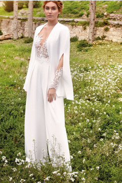 2021 Lace lovely Split Sleeve Wedding Guests Outfits Bride Jumpsuit wps-209