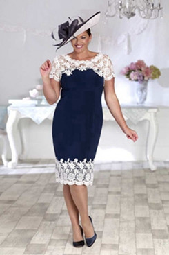 2020 Plus size lace Mother of the bride dress Navy and white NMO-628