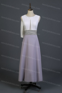 2021 Elegant Jewel Neck Tea Prom Dresses Length Sleeveless Beading  Mother of the Bride Dress nmo-734