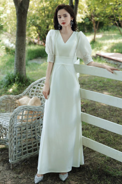 2021 Elegant Simple Puff Sleeve Women's Dress,Discount V-neck Fall Dresses cso-008