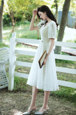 Fashion Knee-Length Women's Dress, Under $100 Short Sleeves Midi Dresses cso-001