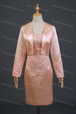 2021 Long Sleeves Mother Of The Bride Dress,Hot Sale Knee-Length Prom Dresses With Jacket nmo-741