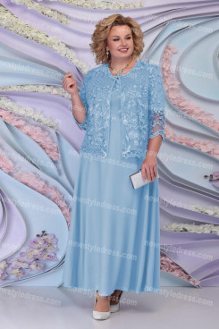 2021 Modern Sky Blue Mother Of The Bride Long Dresses, Plus Size Women's Outfit nmo-730-6