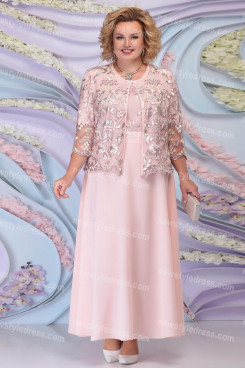 2021 Plus Size Mother Of The Bride Dresses With Jacket Pink Women's Outfit nmo-730-5