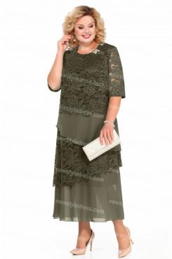 2021 Sage Mid-Calf Mother Of The Bride Dresses Plus Size Women's Dresses nmo-729-4