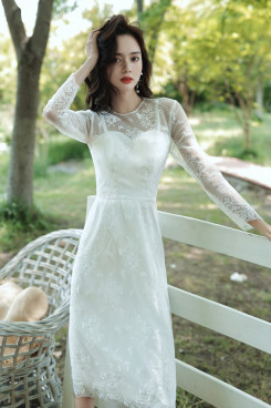 Simple Discount Women's Dress, Under $100 Long Sleeves Mid-Calf Lace Dresses cso-007